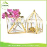 2016 new fashionable wrought iron geometric vase / table number display box brass / glass moss growing flower pot holder