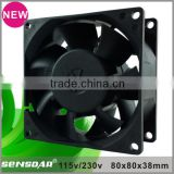 High performance 80mm axial fan 115V 230volt 220V 110volt server rack fan cabinet cooling fan
