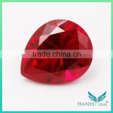Best price 6*8mm pear cut 8# synthetic corundum dove blood lab created ruby stone price per carat