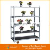 own factory 3/4/5 tiers greenhouse plant flower pot carts display rack shelf trolley for sale
