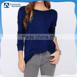 blue color backless long sleeve plain no brand round neck loose fit blank t-shirt women specification manufactures in guangzhou