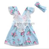 Kids Clothing Floral Patterns Vintage Dress Ruffle Lace Sleeve Baby Summer Cotton Girsl Party Boutique Dresses