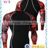 Mens fit slim tee shirt compression t-shirt boys design printing sexy cycling wear man long gym t-shirt