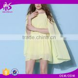 2016 Guangzhou Shandao Summer Sexy Champagne Bat Sleeve Beautiful Elegant Chiffon Normal Dresses