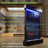 indoor waterfall water curtain wall mounted glass fountain aluminum fountain wall decor wall fountain