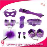 Hot sex products fuax leather soft wool bondage restraint kits set handcuff collar sex toys