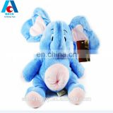hot selling blue big ears plush stuffed toy elephant with cute belly button