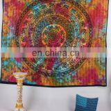 Indian Elephant Tie Die Mandala Decor Cotton Handmade Hippy Queen Wall Hanging, Tapestry, Decorative Bedspread Throw