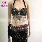 Tribal unique design copper beaded tassel belly dance costume bra and belt set GT-1065