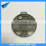 Metal antique silver award medal with custom logo