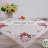 wholesale white red flower square restaurant hand embroidery designs Christmas tablecloth lmzc1006(2)K