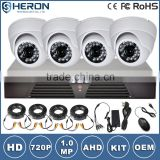Wholesale h.264 diy dvr kit 4pcs IR Dome Camera cctv security system 4ch 720P ahd dvr kit