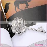 925 Sterling Silver Crystal Hollow out Flower Key Charm Pendant Necklace