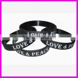 fashion debossed logo love peace silicone printed bracelets