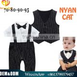 100% real products wholesale boutique baby romper black and white stripe waistcoat two pcs cotton toddlers romper suit