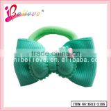 Plastic bow girls ponyholder ribbon bow covered elastic hair bands (XH12-2106)