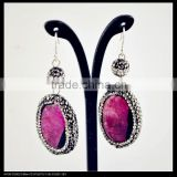 LFD-042E Wholesale Pave Rhinestone Ball With Agate Stone Bead Charms Dangle Earrings Jewelry Making