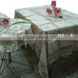 Crocheted table cloth and cushion cover