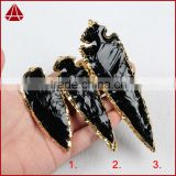 More Than 4.5 Inch Long Arrowhead Custom World of Warcraft Weapon Black Obsidian Gemstone Pendant