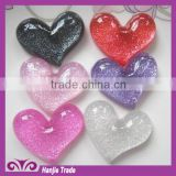 Bulk kawaii heart flat back resins Decorative. polyester resin jewelry cabochons
