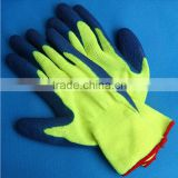 13 Gauge HI-VIS Acrylic Knitted Seamless Fluorescent Yellow Safety Glove EN388, Latex Coated ON Palm