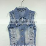 OEM great quality woman fashion western destroy lady denim vest, jeans vest
