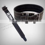Leather Training / Exercise Belt, Contoured 10cm Wide Genuine Suede Leather, Heavy duty dual-pronged steel roller buckle