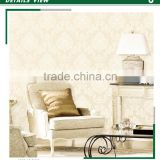 sale foaming non woven wallpaper, yellow classic damask wall decal for dressing room , sound-absorbing wallcovering dealer