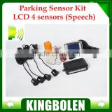 Free Shipping 4 Sensors English Human Voice LCD Parking Sensor Kit Real Person Speech 22mm Car Reverse Backup Radar System 12V