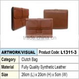Men Brown synthetic leather clutch bag