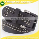 Fashion designer mens metal studded PU black leather belt with Leather buckle in Chinese factory