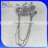 China Wholesale Custom Made Latest Brooch Design/Fashion CZ Wedding Butterfly Brooch With Chain