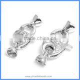 Wholesale 925 Sterling Silver Micro Pave Zircon Lobster Clasps With End Cap For Pearl Necklace And Bracelet SC-CZ054