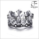 Design your own Men's Stainless Steel Jewelry Retro Crown Silver Rings Bands                                                                         Quality Choice