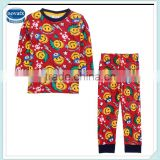 2-6Y (AB4249) NOVA lovely fashion children clothes cotton print smile face sleepwear baby boys clothing sets