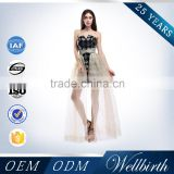 Evening sequins black two piece backless tulle fish tail sexy see through crystal beaded party dress