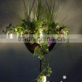 2016 latest design China manufacture artificial hanging plant flower basket with led light for ceiling decoration