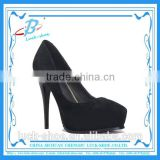 Classic design high heel model shoes Genuine leather high heels Black high heels with platforms