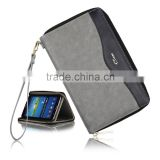 C&T Genuine Leather Wallet Card Cover Tablet Zipper Bag Case for Samsung Galaxy Tab 3 P3200/P3210 7 inch