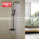 Automotive paint technology black color shower column shower mixer with ABS shower handset and rain shower head