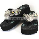 Western ladies bling bling crystal studded berry concho ornament soft rhinestone slippers flip flops