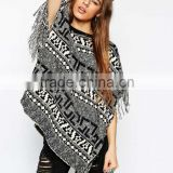 High fashion design sexy women sweater knitted poncho sweater mono pattern sweater