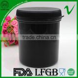 black HDPE round powder packaging plastic container for storage household