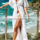 2016 sexy design lace combined see through ladies beach dress