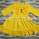 fashion kids yellow color frocks designs baby girl cotton dresses in fall