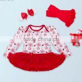 2017 hot sell baby clothing , baby birthday clothes romper suit,romper+knee-pad+headband+one pair of shoes