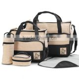 Black 5pcs Multi-Function Baby Diaper Nappy Bag/Mummy Changing Set Handbag