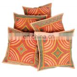 Patch Work With Embroidered Cotton Set Of 5 Pcs. Cushion Covers