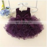 Purple Ruffle Party Dress With Bow