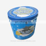 Round blue cookie packaging tin box